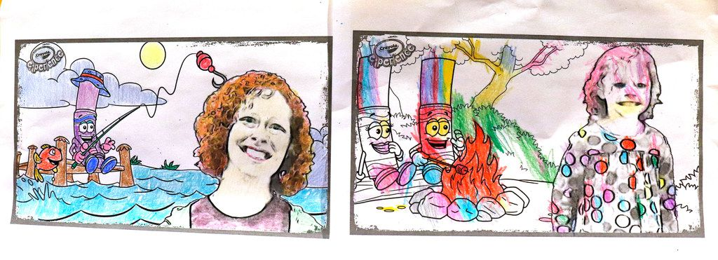 The finished artwork by Anna Horton, 2, and her mother, Robin Horton displayed during the grand opening of the Crayola Experience Plano, Friday, March 23, 2018 at The Shops at Willow Bend. Crayola Experience, a family attraction featuring 22 hands-on creative activities, and The Crayola Store, which has the world's largest selection of Crayola products and unique souvenirs. (David Woo/The Dallas Morning News)