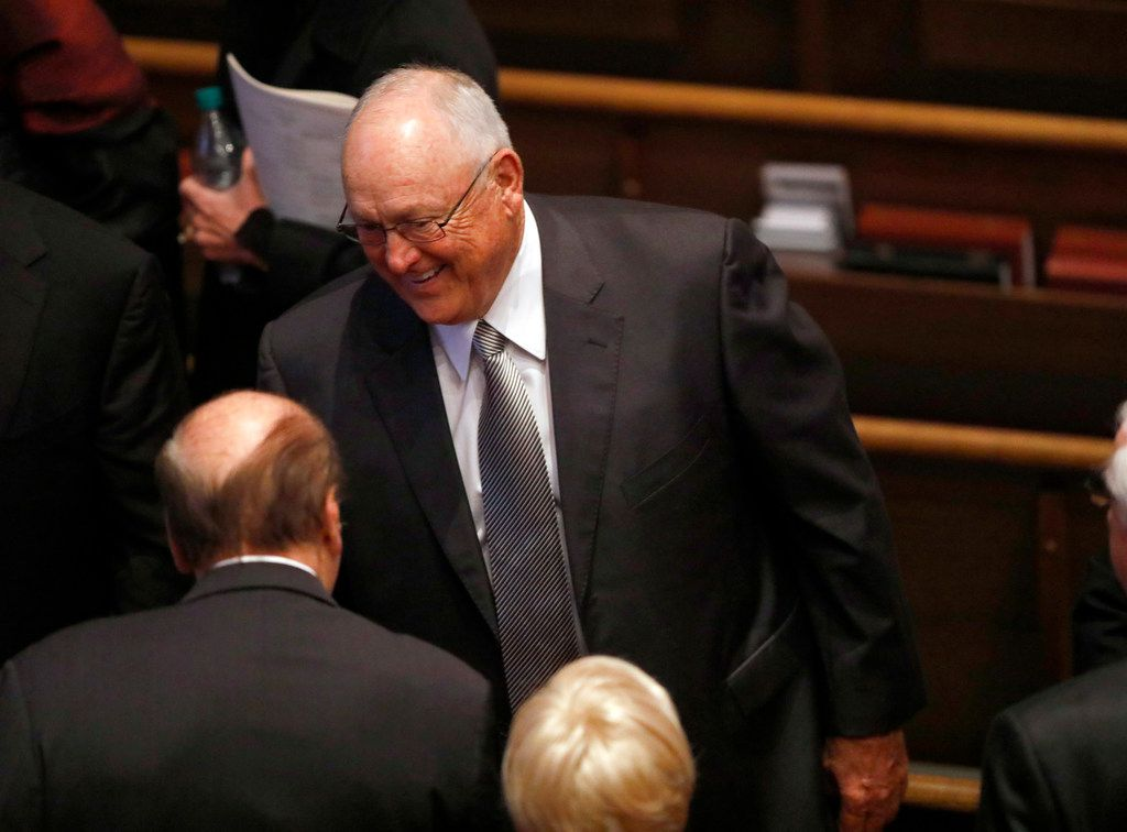 Former Texas Rangers pitcher Nolan Ryan is greeted by friends following the funeral service for George H.W. Bush, the 41st President of the United States, at St. Martin's Episcopal Church in Houston, Thursday, December 6, 2018.