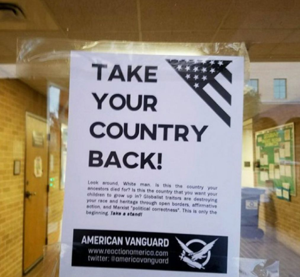 More controversial fliers promoting white supremacist propaganda, like this one that was at Texas State University in January 2017, are popping up on college campuses  across the country.