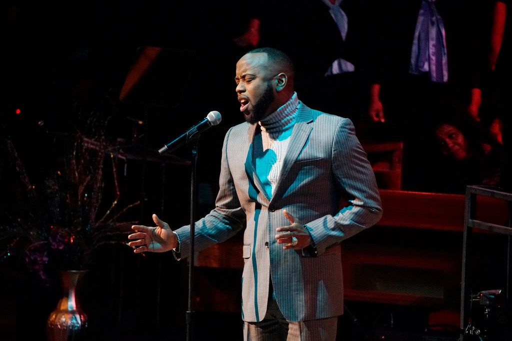 """B-Slade sang with the 200 member choir during the """"Black Music and the Civil Rights Movement Concert"""" at the Morton H. Meyerson Symphony Center in Dallas on Jan. 14."""