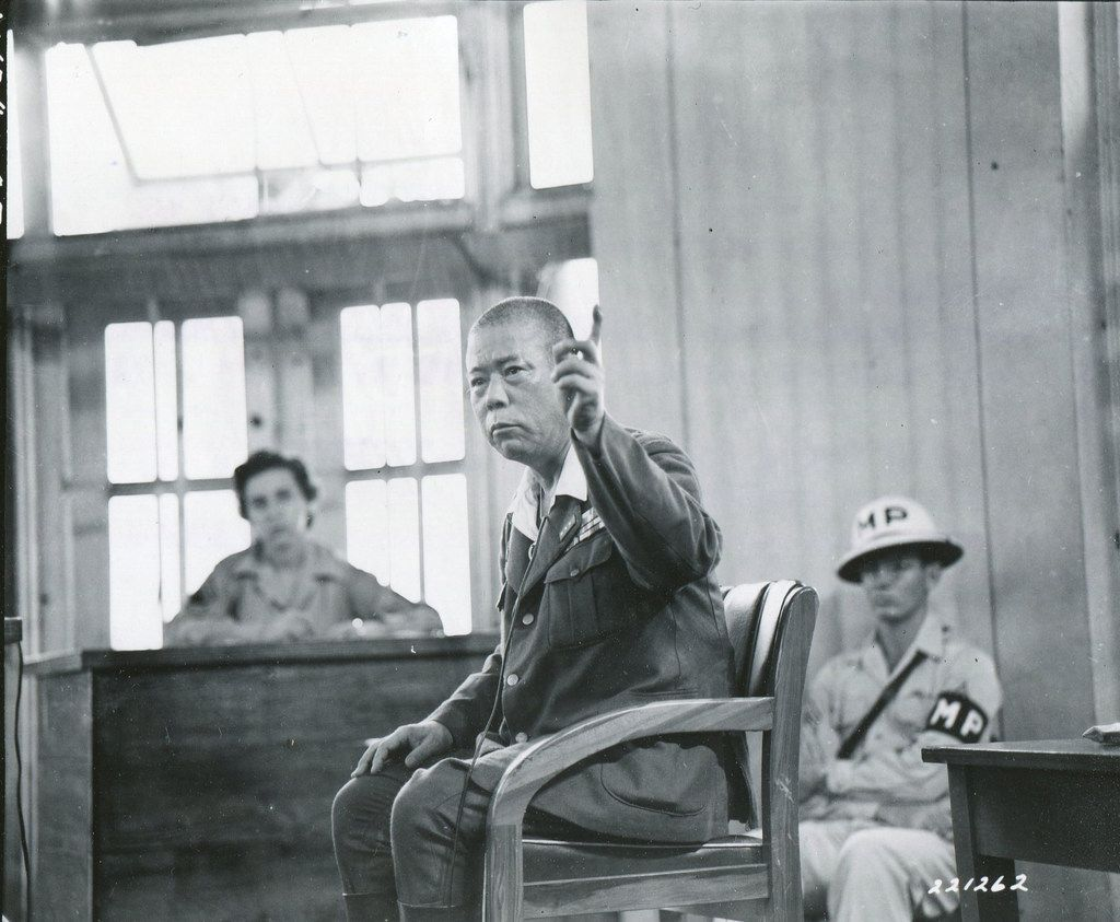 Gen. Tomoyuki Yamashita testifies in his defense in a packed Manila courtroom  on Nov. 28, 1945. From Rampage: MacArthur, Yamashita and the Battle of Manila, by James M. Scott.