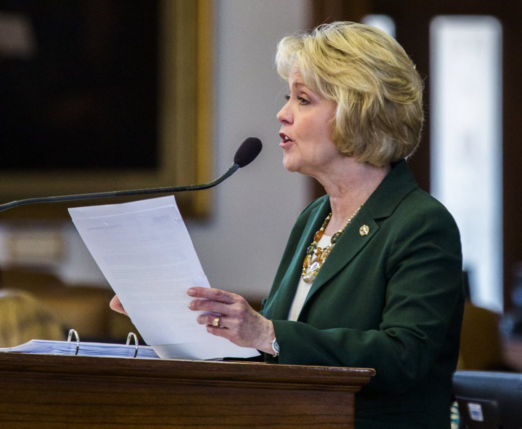 Rep. Cindy Burkett, R-Sunnyvale, talks about HB 3425, legislation that attempted to have the North Texas Toll Authority reviewed by the state Sunset Advisory Commission, during the final days of the 84th Texas legislature regular session on Sunday, May 31, 2015 at the Texas state capitol in Austin, Texas.  Burkett sponsored the bill, which failed, in the house. (Ashley Landis/The Dallas Morning News)