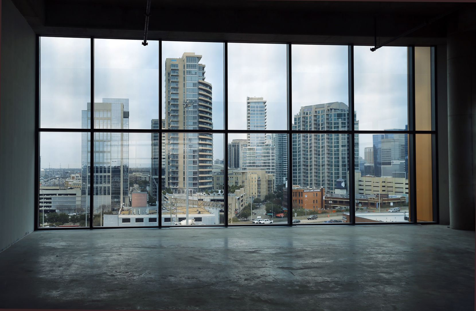 The seventh floor of the newly constructed Luminary has sweeping panoramic views of Uptown Dallas.