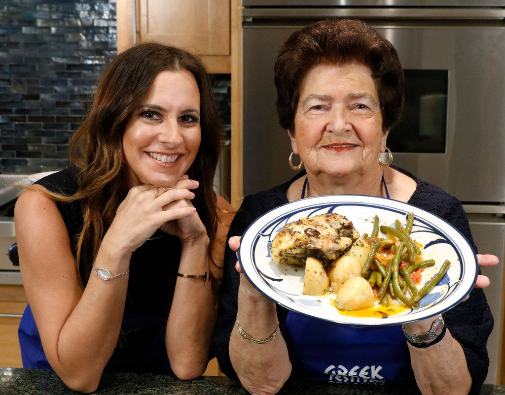 Christina Moros and her grandmother Christina Zarras show off their Greek Chicken and Potatoes and green beans.