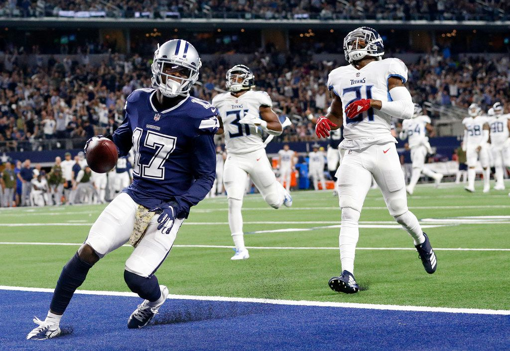 FILE - Cowboys wide receiver Allen Hurns (17) scores a second quarter touchdown against Tennessee Titans cornerback Malcolm Butler (21) at AT&T Stadium in Arlington on Monday, Nov. 5, 2018. (Tom Fox/The Dallas Morning News)