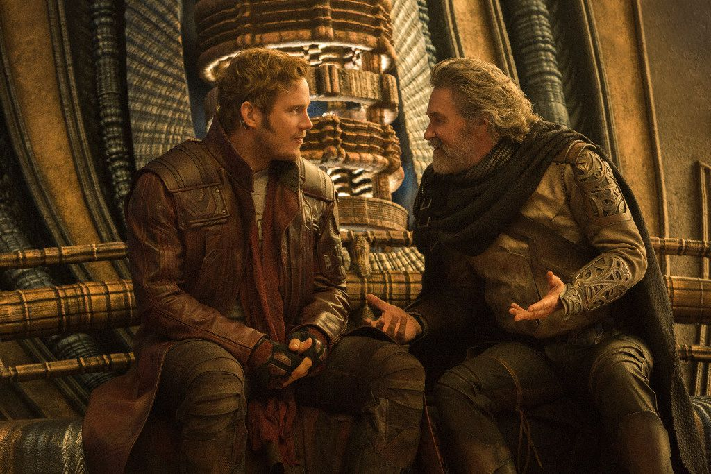Guardians Of The Galaxy Vol. 2..L to R: Star-Lord/Peter Quill (Chris Pratt) and Ego (Kurt Russell)..Ph: Chuck Zlotnick.. Marvel Studios 2017 Guardians Of The Galaxy Vol. 2  L to R: Star-Lord/Peter Quill (Chris Pratt) and Ego (Kurt Russell)  Ph: Chuck Zlotnick    Marvel Studios 2017