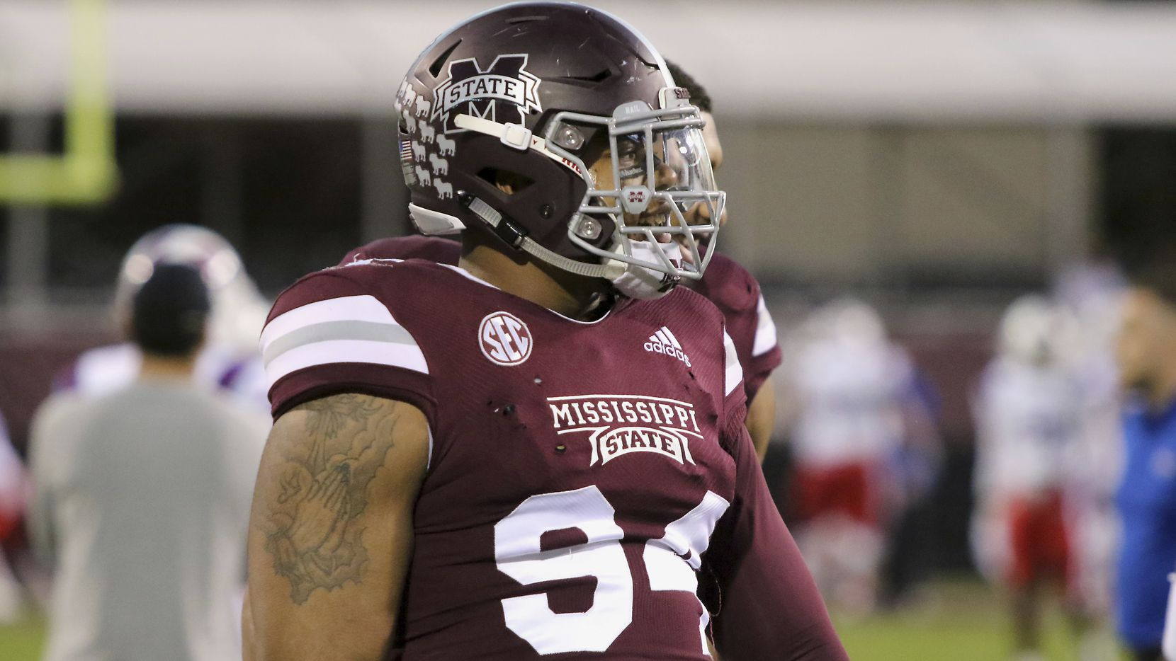 FILE - Mississippi State defensive tackle Jeffery Simmons (94) is pictured during warm-up drills before a game against Louisiana Tech on Saturday, Nov. 3, 2018, in Starkville, Miss. (AP Photo/Jim Lytle)