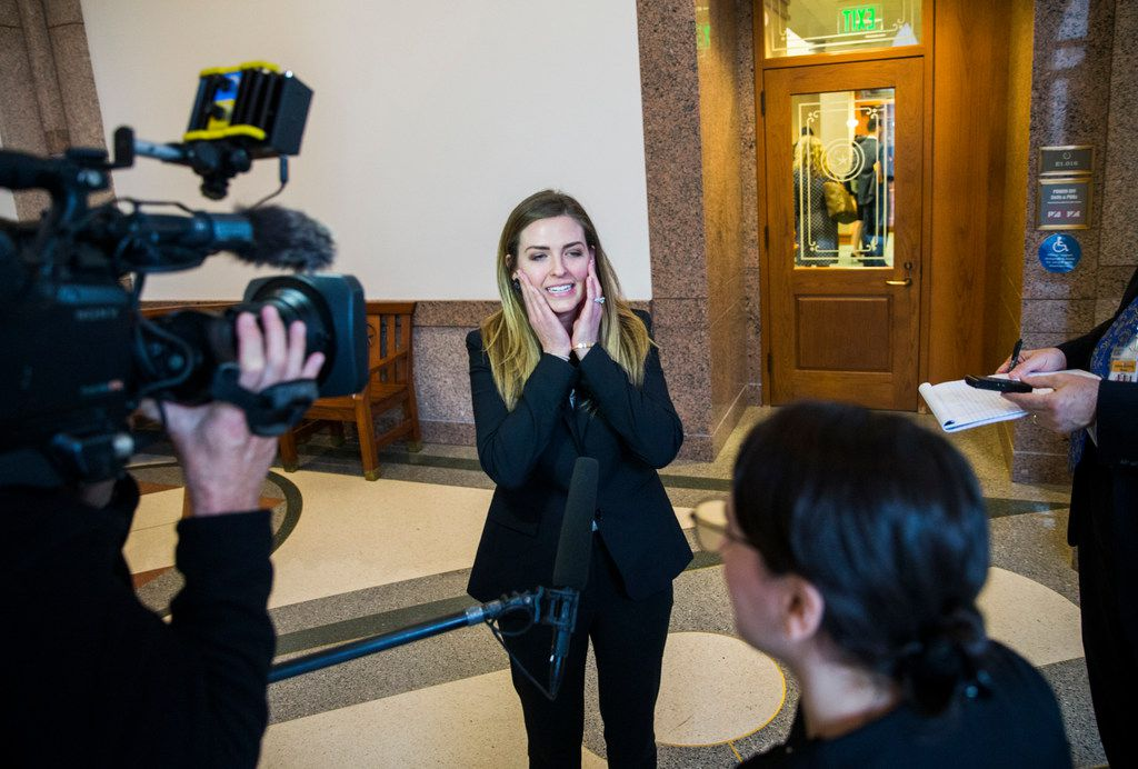 Eve Wiley, shown after she testified to a Senate panel in April, says she learned last year that her mother's fertility doctor, and not the sperm donor her mother chose, is her biological father. Wiley pushed for passage of Senate Bill 1259, which as of Sept. 1 will make fertility fraud a new category of sexual assault in Texas.