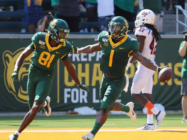 Baylor cornerback Grayland Arnold, right, celebrate with wide receiver Tyquan Thornton, after his punt return touchdown against UTSA in the first half of an NCAA college football game, Saturday, Sept. 7, 2019, in Waco, Texas.