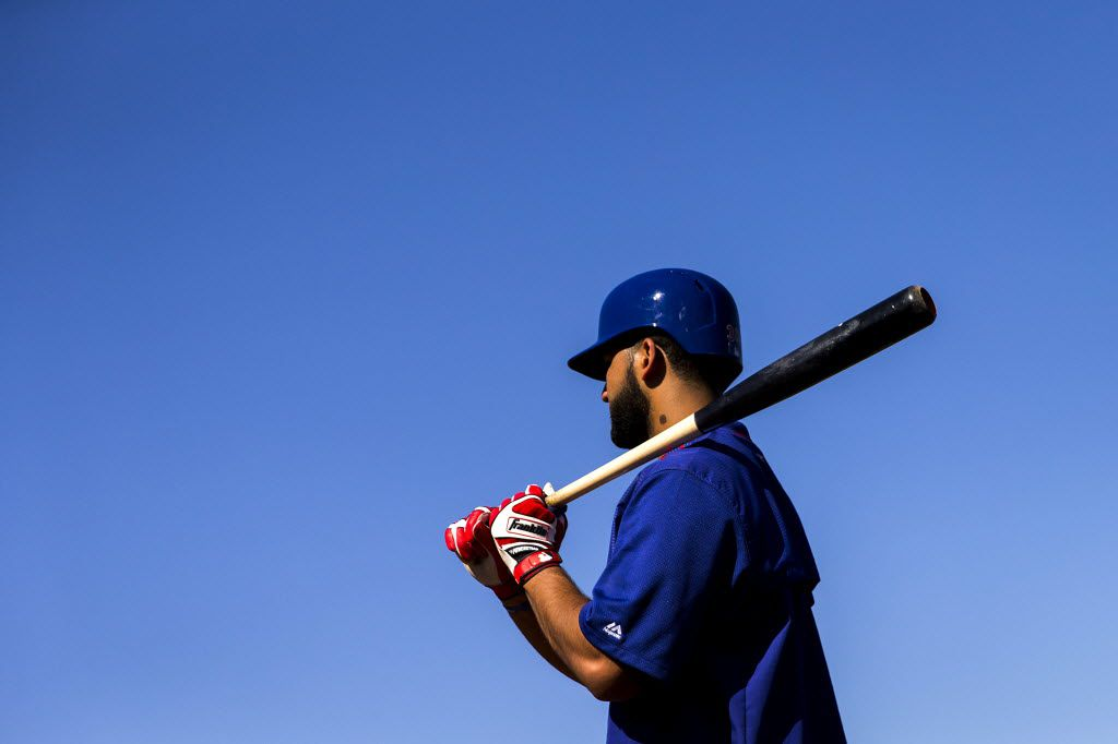 Texas Rangers outfielder Nomar Mazara waits to take his turn in the batting cage during a spring training workout at the team's training facility on Thursday, Feb. 25, 2016, in Surprise, Ariz. (Smiley N. Pool/The Dallas Morning News)