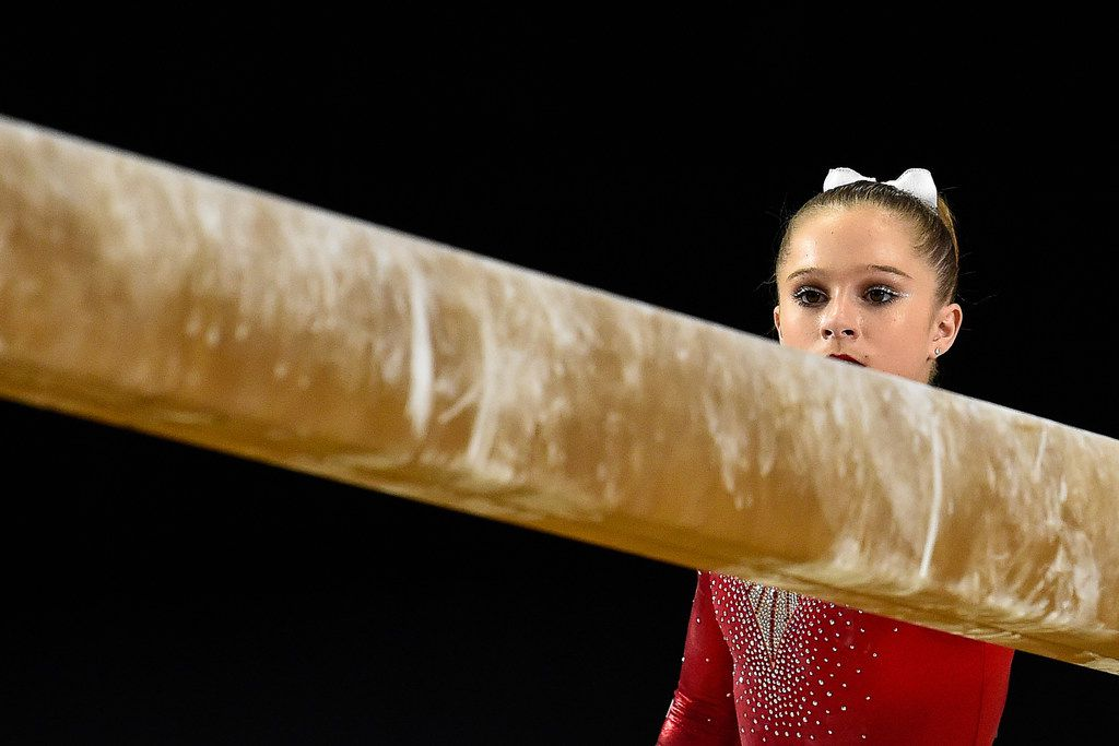 MONTREAL, QC - OCTOBER 04:  Ragan Smith of the U.S. looks towards the balance beam prior to her competition during the qualification round of the Artistic Gymnastics World Championships on October 4, 2017 at Olympic Stadium in Montreal, Canada.  (Photo by Minas Panagiotakis/Getty Images)