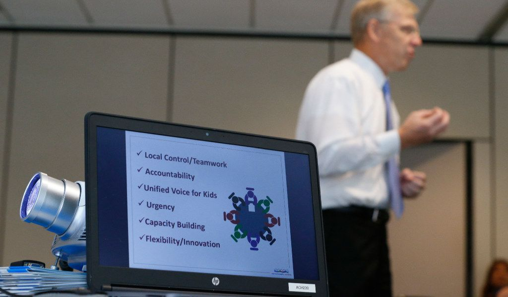 """Community leaders in Mineral Wells, west of Fort Worth, gathered last summer to hear Wayne Carson of ACH Child and Family Services pitch """"foster care redesign,"""" a new method of procuring beds and therapies for abused and neglected kids. On Wednesday, the Texas Senate advanced a bill that would speed the rest of the state's embrace of the model, and outsource the job functions of several categories of CPS workers, including """"case management"""" and """"kinship care"""" (Nathan Hunsinger/Staff photographer)"""