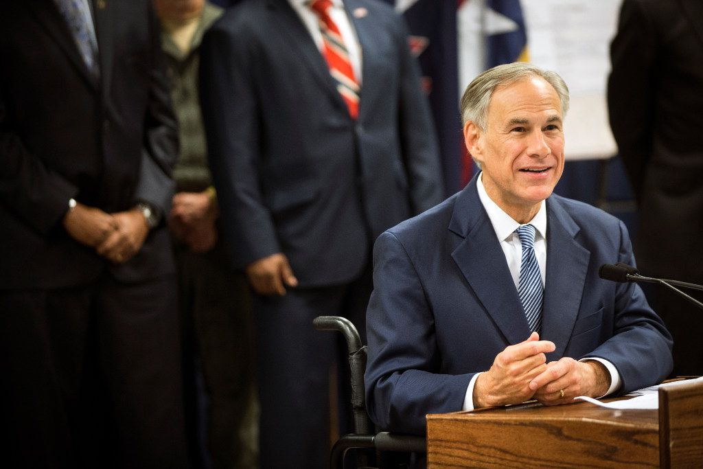 Gov. Greg Abbott announces a new plan to fight gang violence at a news conference April 10 in Houston. (Marie D. De Jesus/Houston Chronicle)