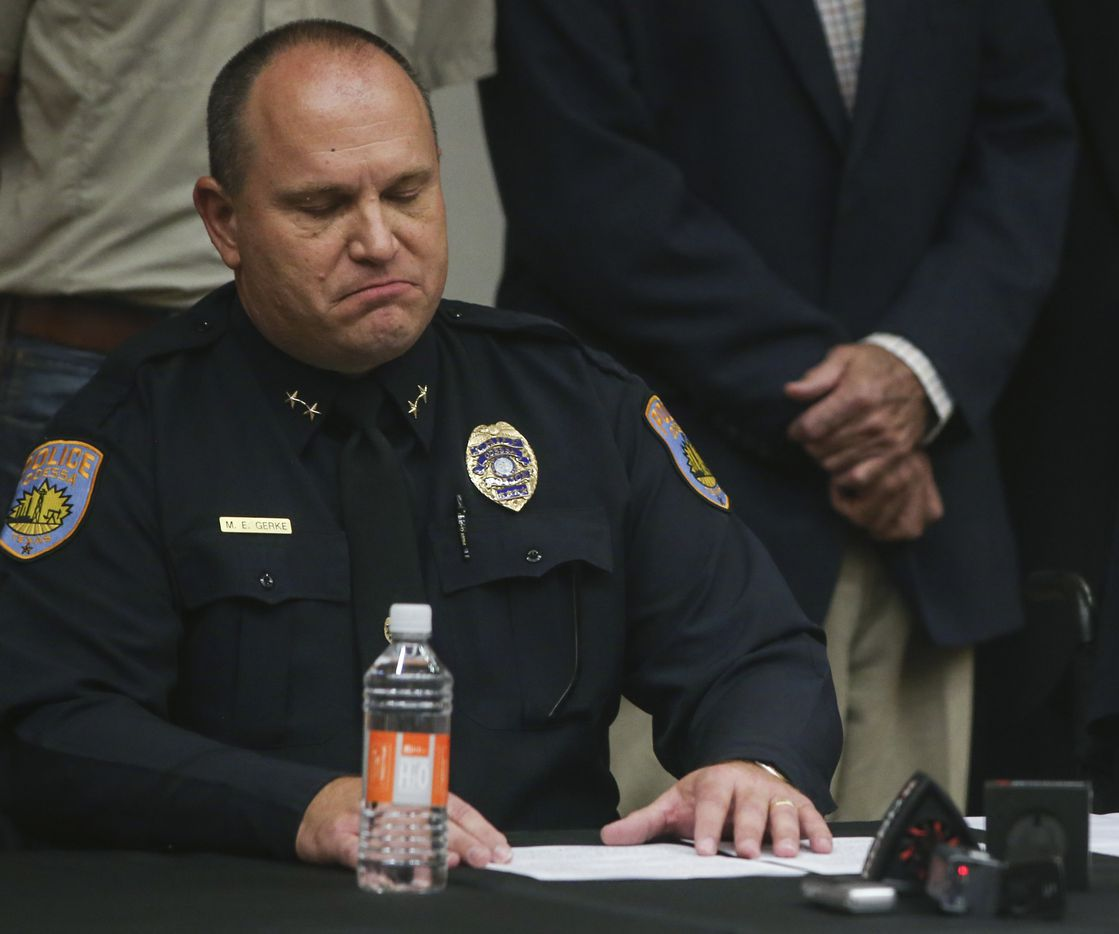Odessa Police Chief Michael Gerke takes a moment during a press conference at the University of Texas Permian Basin on Sunday, Sept. 1, 2019 in Odessa, Texas.