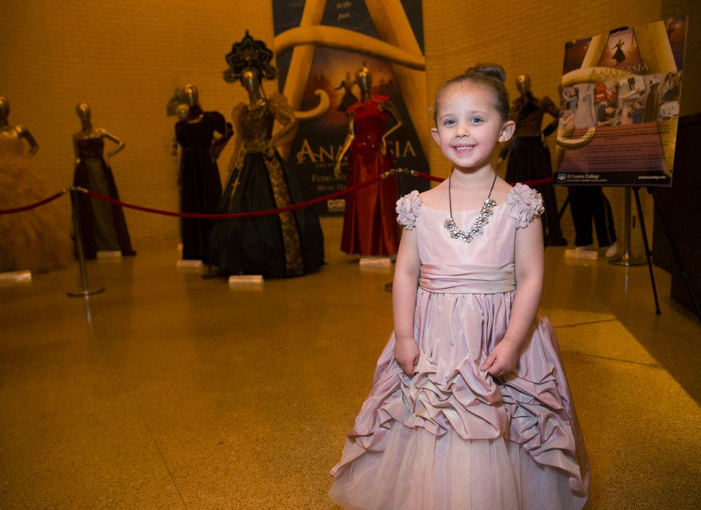 Gwendolyn Hansford, 4, dressed up as Anastasia, poses for a portrait before a performance of Anastasia at the Music Hall at Fair Park in Dallas. The musical runs until March 3.