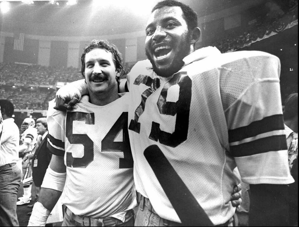 MVP's Randy White and Harvey Martin are all smiles after the  Cowboy's victory over the Denver Broncos in Super Bowl XII in  1977 in New Orleans.