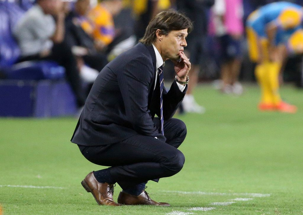 FILE - In this July 16, 2017 file photo, Matias Almeyda, head coach of Chivas de Guadalajara soccer team, watches a play in the second half of a Champion of Champions (Campeon de Campeones) match against Tigres UANL in Carson, Calif. The San Jose Earthquakes soccer teamin California confirmed Monday, Oct. 8, 2018 that they hired Almeyda as their new head coach. (AP Photo/Reed Saxon, File)