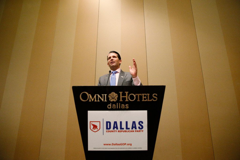 Donald Trump Jr. speaks to a VIP reception before the Dallas County Republican Party's Reagan Day Dinner at the Omni Dallas Hotel in Dallas on March 11, 2017, featuring Sen. Ted Cruz and Donald Trump, Jr, among others. (Nathan Hunsinger/The Dallas Morning News)