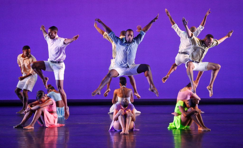Dancers perform in The B-Side by Dallas Black Dance Theatre at Wyly Theatre in Dallas on Nov. 4, 2016. The audience was given headphones that allowed them to choose between four music selections throughout the performance. (Nathan Hunsinger/The Dallas Morning News)