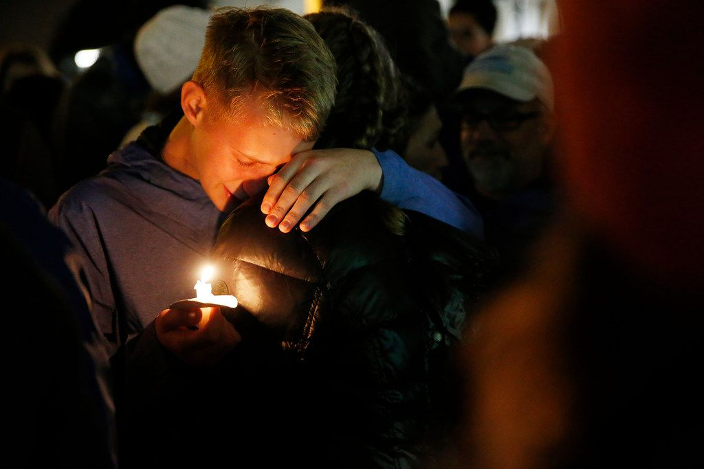 An interfaith vigil after a mass shooting at the Tree of Life synagogue left 11 dead, at the nearby Sixth Presbyterian Church in Pittsburgh on Oct. 27, 2018.