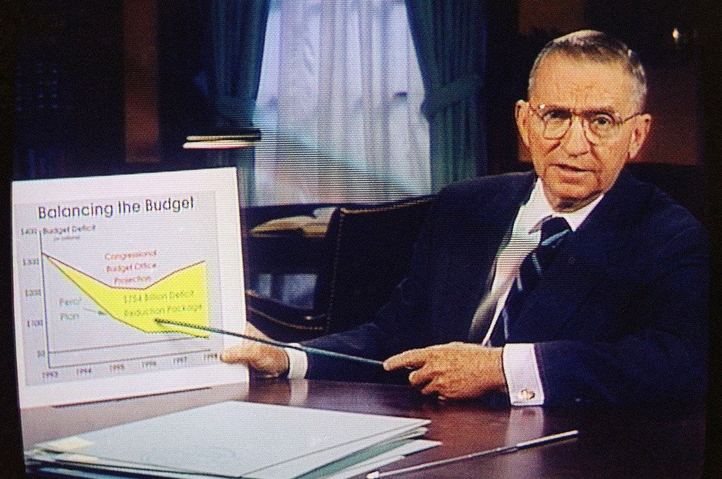 In this Oct. 16, 1992, file photo, Ross Perot is shown in a paid 30-minute television commercial  during a media preview in Dallas. Perot, the Texas billionaire who twice ran for president, has died, a family spokesperson said Tuesday, July 9, 2019. He was 89.