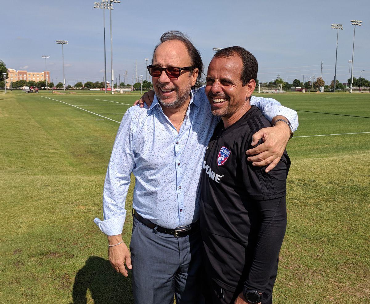FC Dallas Technical Director Fernando Clavijo (left) and Head Coach Oscar Pareja (right). (5-23-18)
