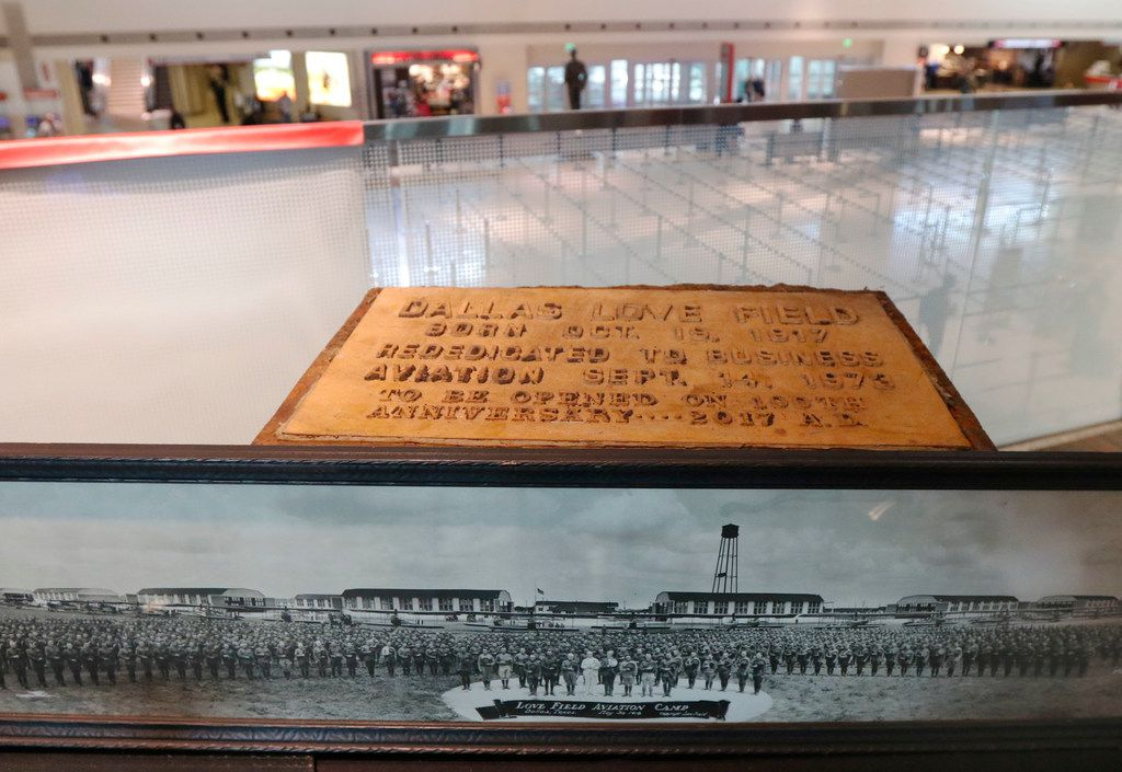 A time capsule from Sept. 14, 1973, and a photograph of Dallas Field Aviation Camp taken May 30, 1918, were on display during the 100th anniversary on Thursday.