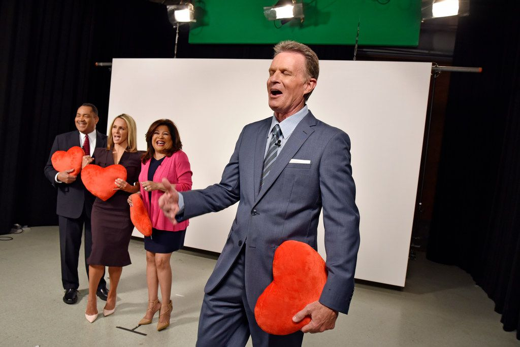Local TV evening news anchors John McCaa (left), Meredith Land and Clarice Tinsley have a good-natured laugh as fellow anchor Doug Dunbar muffs his lines during the production of a PSA for Giving Tuesday.