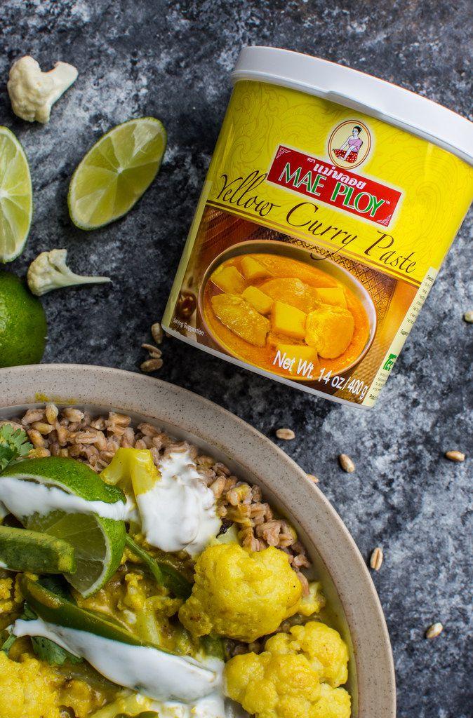 Yellow Curry Cauliflower Farro Bowl