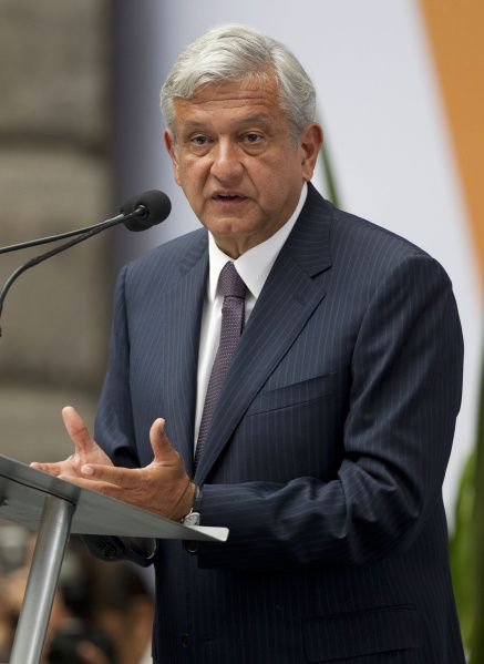 Manuel Lopez Obrador, presidential candidate for the Democratic Revolution Party (PRD), speaks during the first Citizens Summit in Mexico City, Tuesday, May 22, 2012. Mexico will hold presidential elections on July 1. (AP Photo/Eduardo Verdugo)