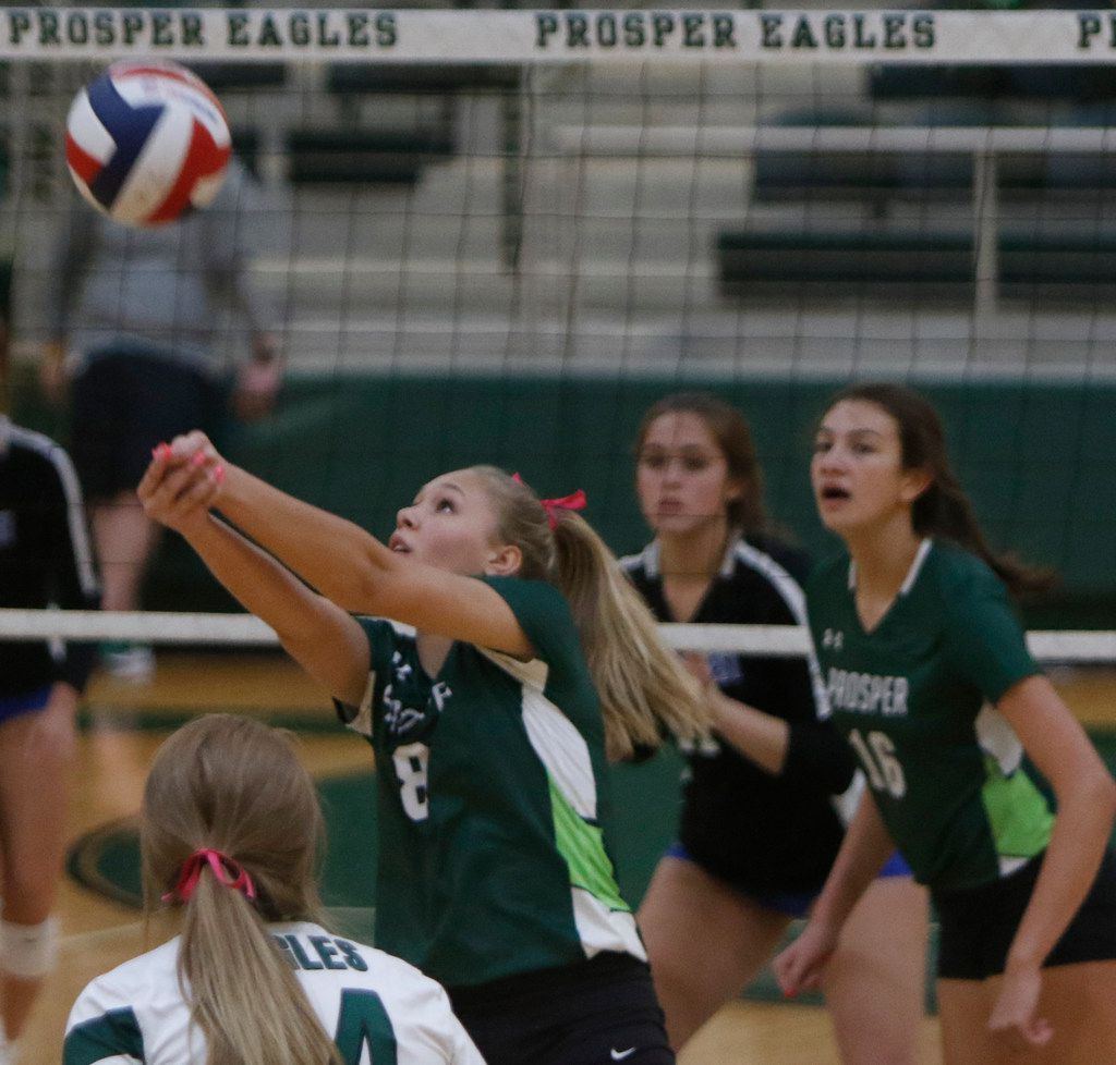 Prosper's Jazzlyn Ford (8) keeps the ball in play during the 2nd game of their match against Plano West. The two teams played their District 9-6A volleyball match at Prosper High School in Prosper on October 22, 2019. (Steve Hamm/ Special Contributor)