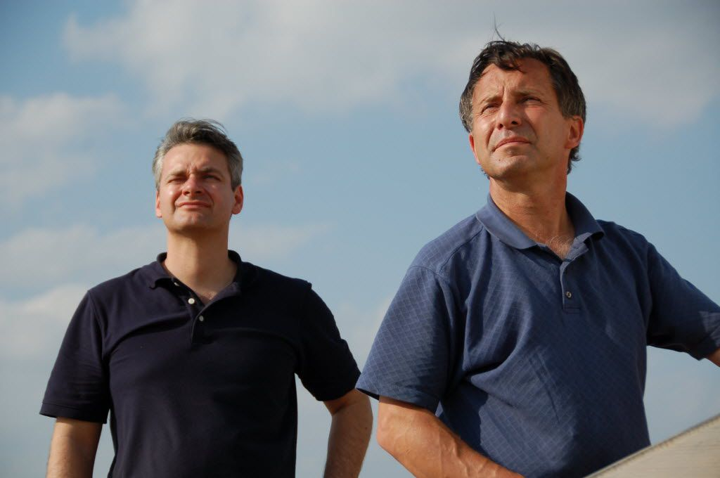 Storm-chasers Carl Young, left, and Tim Samaras.