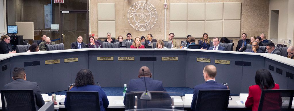 At Dallas City Hall, the City Council's Government Performance and Financial Management Committee on Tuesday, Feb. 19, stares down the city staff and VisitDallas officials tasked with resolving a highly critical audit last month.