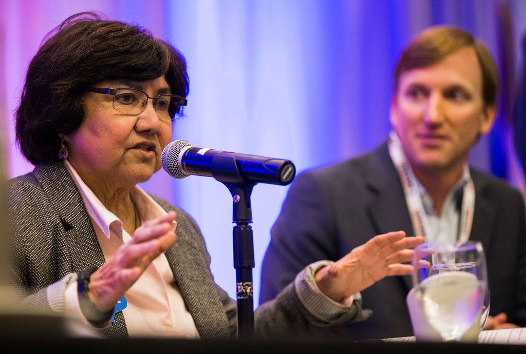 Democrat gubernatorial candidate and former Dallas Sheriff Lupe Valdez, left, participates in a debate with Andrew White of Houston at the Texas AFL-CIO COPE Convention on Saturday, January 20, 2018 at the Sheraton Austin Hotel in Austin.