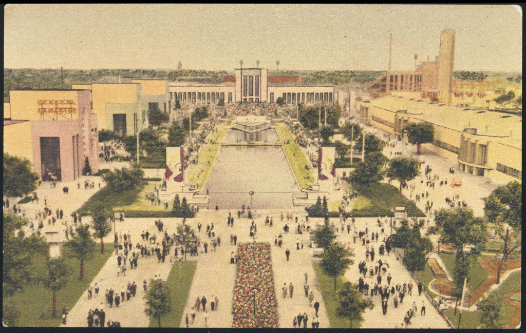A hand-tinted postcard from the Texas Centennial Exposition, in 1936, including the Hall of State (top center), Esplanade (center foreground), Cotton Bowl stadium (top right) and more.