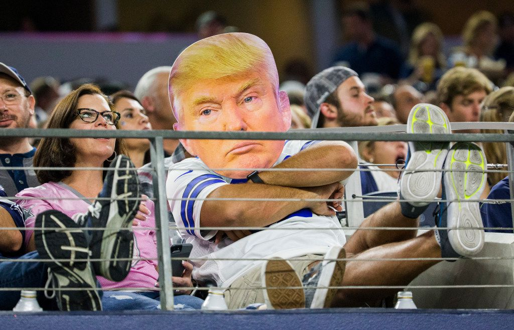A Dallas Cowboys fan dressed as Donald Trump watches their game against the Philadelphia Eagles from the stands on  Oct. 30, 2016 at AT&T Stadium in Arlington, Texas.