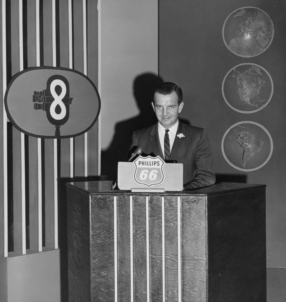 """Richard H. """"Dick"""" Wheeler is pictured on the WFAA-TV set in 1961."""