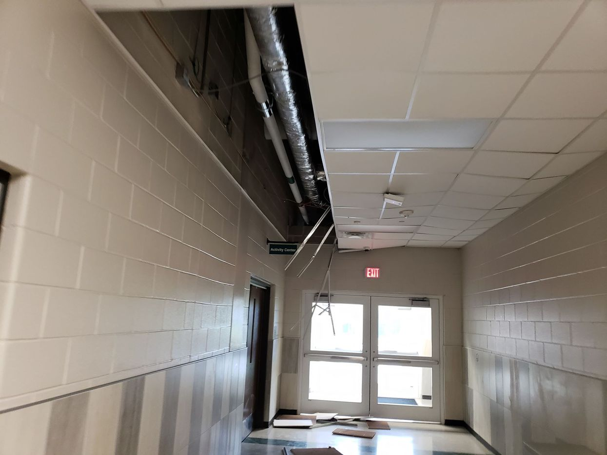 Ceiling tiles were knocked out at Waxahachie High as the storm passed. No injuries were reported. (Paula Antonevich Myers)