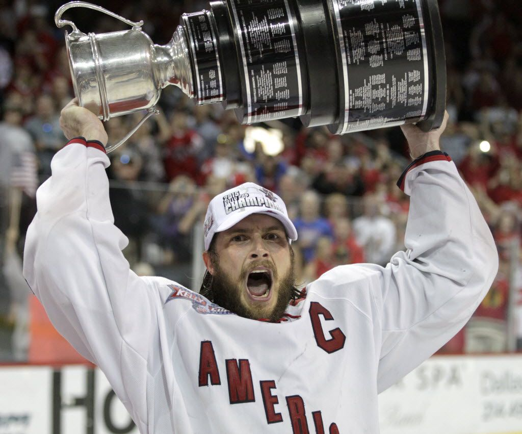 Americans' Jamie Schaafsma (22) celebrates with the Kelly Cup after Game 7 of the ECHL Kelly Cup Finals at the Allen Events Center in Allen, on Sunday, June 14, 2015. The Allen Americans defeated the South Carolina Stingrays 6-1 in game 7 to win the championship. (Vernon Bryant/The Dallas Morning News)