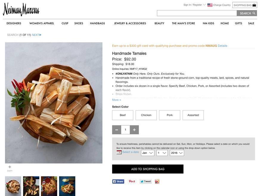 La tienda Neiman Marcus le envía tamales por $100.