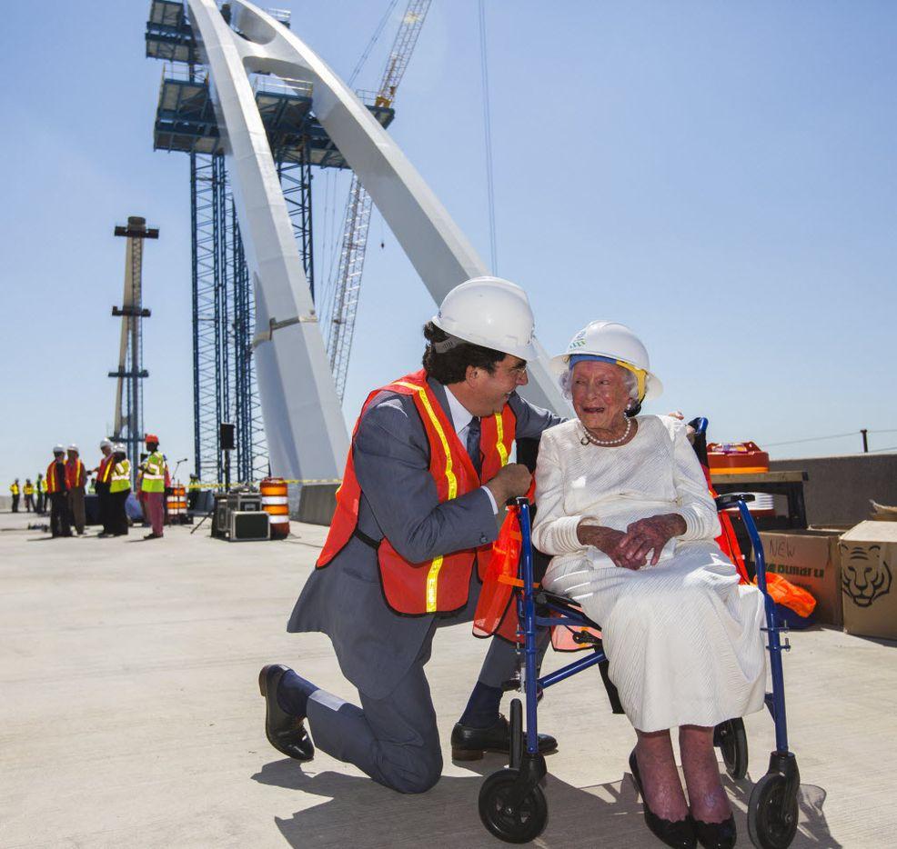Architect Santiago Calatrava and Margaret McDermott share a moment together before a bridge signing on the Margaret McDermott Bridge on June 11, 2015.
