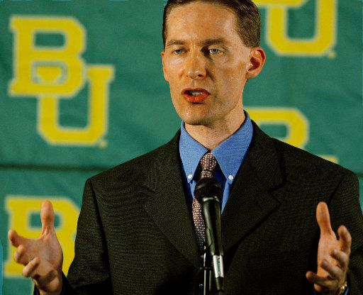 Ian McCaw, cq, who was named Athletic Director at Baylor University on Monday, Sept. 8, 2003, talks to the media during the press conference at Floyd Casey Stadium in Waco, Texas.