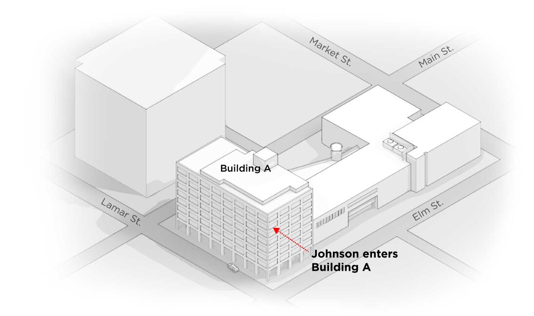 3) Inside the building: Johnson shoots in the glass doors at another entrance, on Elm Street, gaining entrance to Building A. According to DCCCD chief Joseph Hannigan, the sniper moves directly across the hallway to a stairwell.
