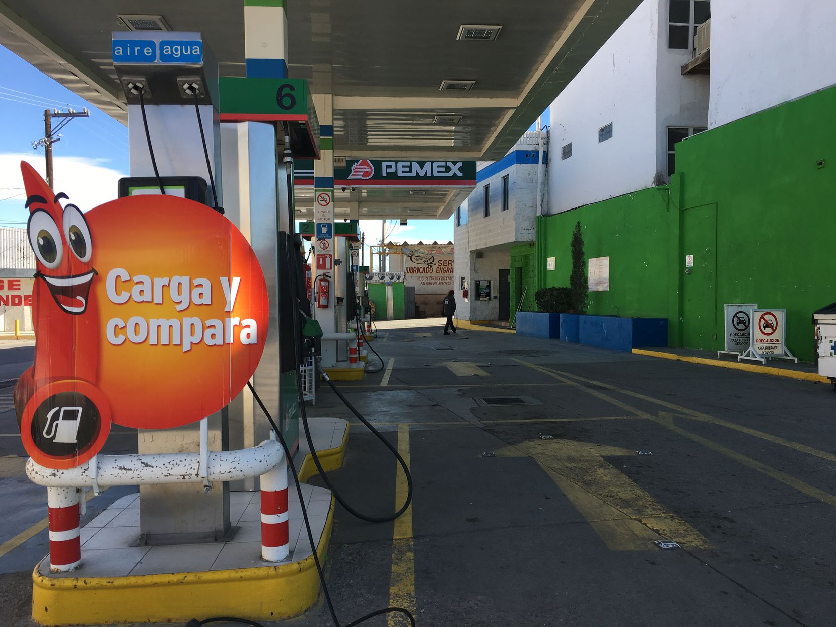 This gas station in Ciudad Juarez saw business fall by about 50% after the the fuel price hike January first.  Some motorists in Mexico are crossing the border to fill their tanks in Texas where the price of gas is cheaper.
