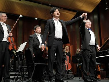 Gold medalist Yekwon Sunwoo from South Korea performs with conductor Nicholas McGegan and the Fort Worth Symphony Orchestra Sunday during his concerto in the Semifinal round at The Fifteenth Van Cliburn International Piano Competition held at Bass Performance Hall in Fort Worth, Texas.