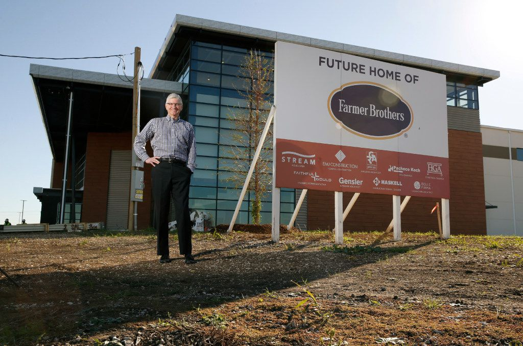Michael Keown, CEO of Farmer Bros., stands in front of the company's new headquarters being built in Northlake north of Fort Worth on Dec. 1, 2016. (Nathan Hunsinger/Staff Photographer)