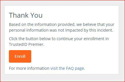 This is the message you get if you check the Equifax website, and Equifax believes your ID information has not been stolen.