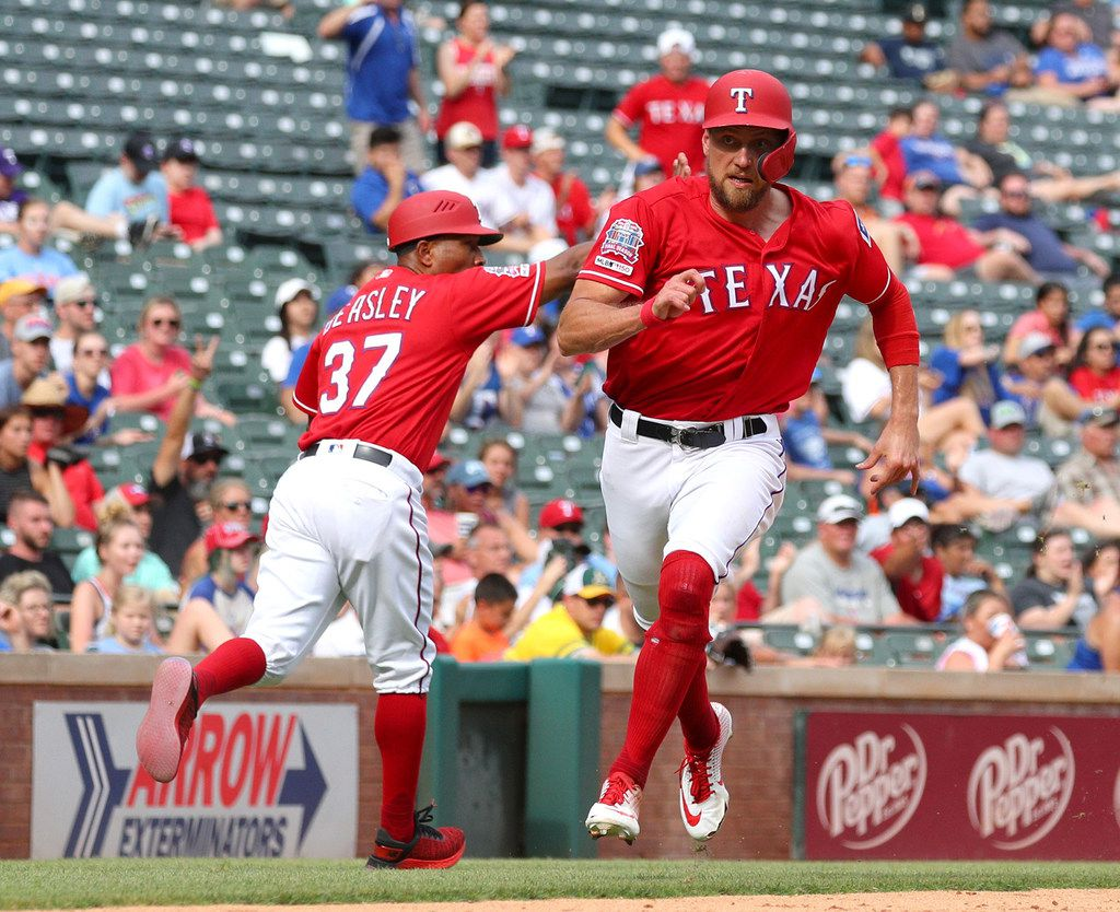 Texas Rangers' Hunter Pence (24) runs home to score on a double by Asdrubal Cabrera in the eighth inning against the Oakland Athletics on Sunday, June 9, 2019 in Arlington, Texas. (Richard W. Rodriguez/Fort Worth Star-Telegram/TNS)