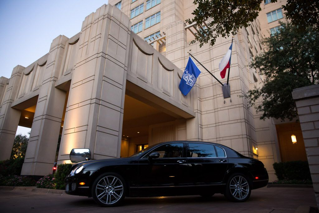 A Bentley parked outside the the Ritz-Carlton in Dallas.