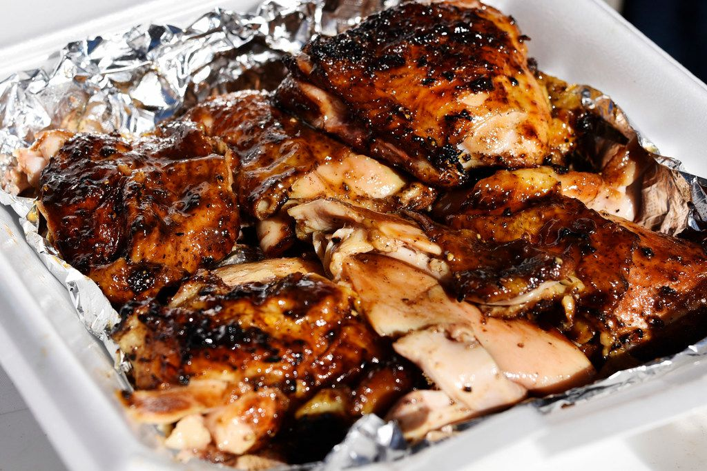 Chicken cooked for competition at the Dallas Kosher BBQ championship